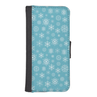 Winter Snowflakes on Teal Phone Wallets