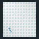"""Winter Snowflakes Pattern Blue Holiday Pet Name Bandana<br><div class=""""desc"""">Winter Snowflakes Pattern Blue Holiday Design,  featuring colors blue and white,  and a pet name template.</div>"""