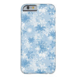 Winter snowflakes pattern on blue barely there iPhone 6 case
