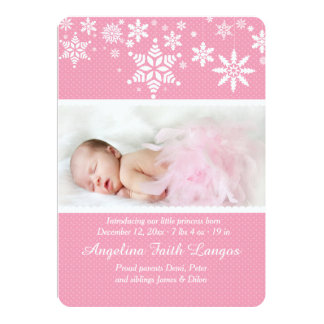 Winter Snowflakes Pink Birth Announcement