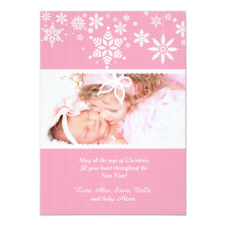 Winter Snowflakes Pink Photo Card