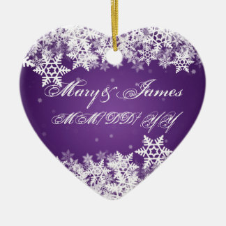 Winter Snowflakes Purple Elegant Wedding Favor Ceramic Ornament
