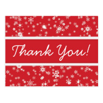 Winter Snowflakes Red Christmas Thank You Postcard