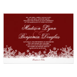 Winter Snowflakes Red Holiday Wedding Invitations