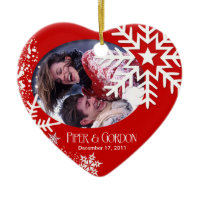 Winter Snowflakes (red) Photo Ornament