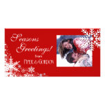 Winter Snowflakes (red) Seasons Greetings Personalized Photo Card