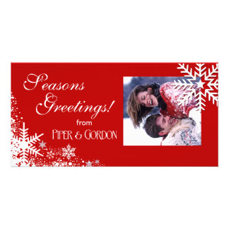 Winter Snowflakes red Seasons Greetings Personalized Photo Card