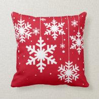 Winter Snowflakes Red Throw Pillow