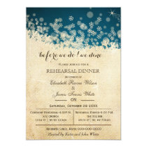 Winter Snowflakes Rustic rehearsal dinner invites