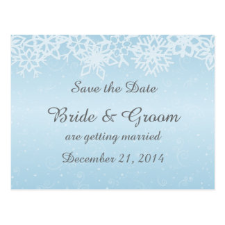 Winter Snowflakes Save the Date Postcard