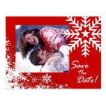 Winter Snowflakes Save the Date (red) Photo Post Card