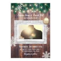 Winter Snowflakes String Lights Photo Wedding Invitation
