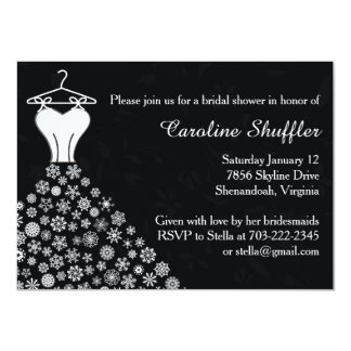 Winter Snowflakes Wedding Dress Bridal Shower Card