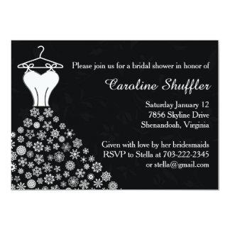 Winter Snowflakes Wedding Dress Bridal Shower 4.5x6.25 Paper Invitation Card