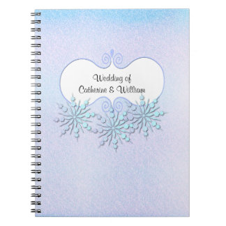 Winter Snowflakes Wedding Guest Sign In Spiral Note Book
