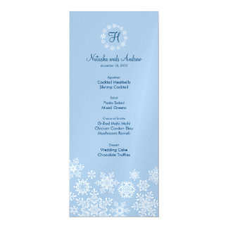 Winter Snowflakes Wedding Menu Card