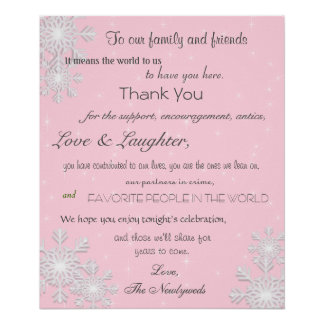 Winter Snowflakes Wedding Poster, Thank You Sign