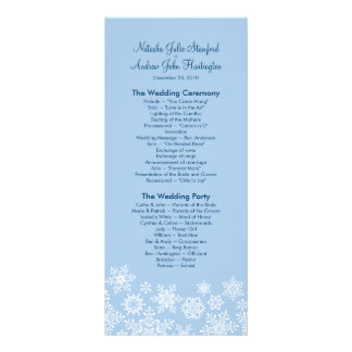 Winter Snowflakes Wedding Program Photo Keepsake Personalized Rack Card