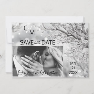 Winter Snowflakes Wedding SAVE OUR DATE | PHOTO Save The Date