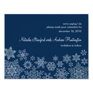 Winter Snowflakes Wedding Save the Date Card