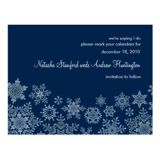 Winter Snowflakes Wedding Save the Date Postcard
