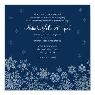"Winter Snowflakes Wedding Square Invitation Card 5.25"" Square Invitation Card"