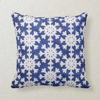 Winter Snowgflakes on Blue Pillow