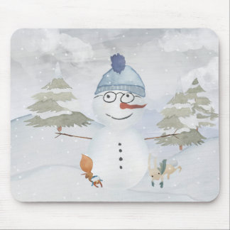 Winter Snowman animal snow animal illustration Mouse Pad