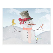 Winter Snowman animal snow animal illustration Postcard