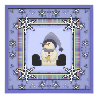 Winter Snowman Baby Shower Invitations for Boys
