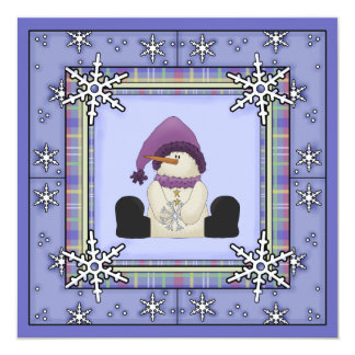 "Winter Snowman Baby Shower Invitations for Girls 5.25"" Square Invitation Card"