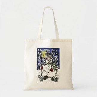 Winter Snowman - Block Print in color Tote Bag
