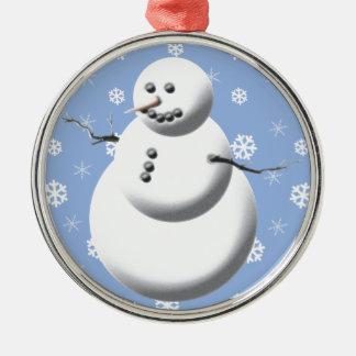Winter Snowman Blue Christmas Tree Ornament