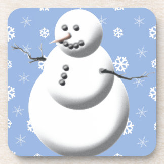Winter Snowman Blue Holiday Drink Coasters