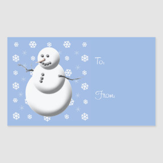 Winter Snowman Blue Holiday Gift Tag Stickers