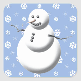 Winter Snowman Blue Holiday Stickers