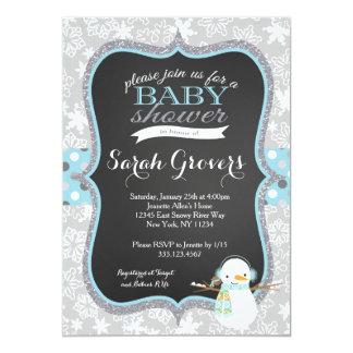 "Winter Snowman Boy Baby Shower invitation 5"" X 7"" Invitation Card"