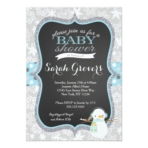 Winter Snowman Boy Baby Shower invitation