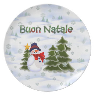 Winter Snowman Buon Natale Plate