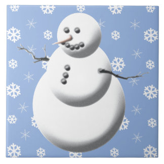 Winter Snowman Ceramic Holiday Tile