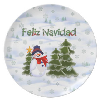 Winter Snowman Feliz Navidad Plate