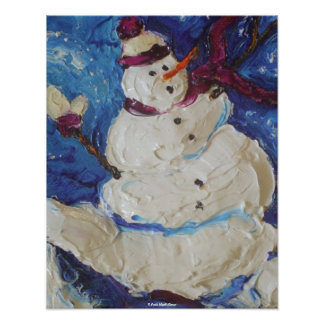 Winter Snowman Fine Art Poster