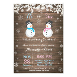 Winter Snowman Gender Reveal Invitation