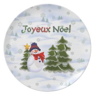 Winter Snowman Joyeux Noel Plate