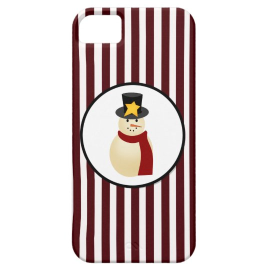 Winter Snowman on Red Merry Christmas Design iPhone SE/5/5s Case