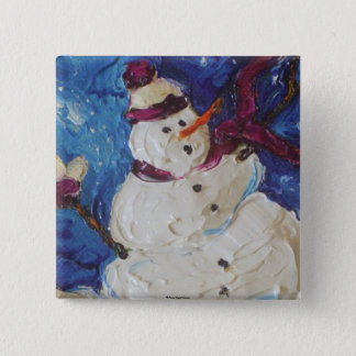 Winter Snowman Pinback Button