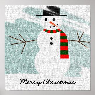 Winter Snowman Poster