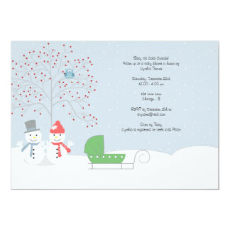 Winter Snowmen and Carriage Baby Shower Invitation