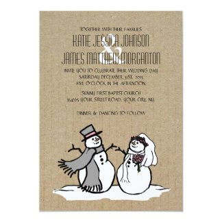 Winter Snowmen Bride & Groom Wedding Card