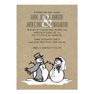 Winter Snowmen Bride Groom Wedding Custom Invites